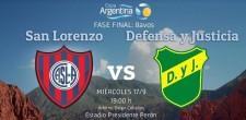 Defensa juega ésta tarde por la Copa Argentina ante San Lorenzo, en cancha de Racing. Transmite Radio GBA desde las 18